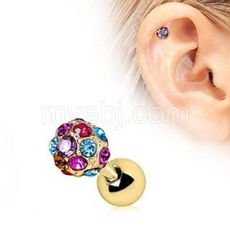Rainbow Multi-Cz Cartilage Earring