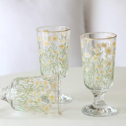 Vintage Flower Juice Glass