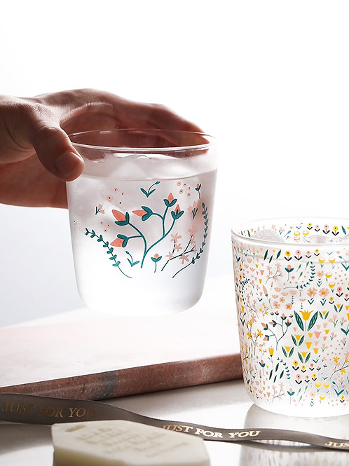 Set of 2 - Folk Style Tulip Drinking Glass