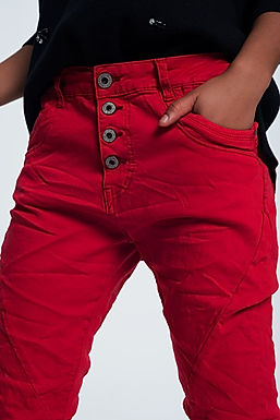 Original Boyfriend Jean in Rouge
