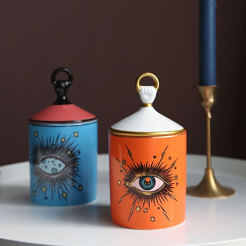 Oh What Big Eyes You Have - Ceramic Decorative Storage Jars with Lid & Gold Tray