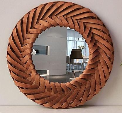 Vintage  Wooden Round Wall Mirror