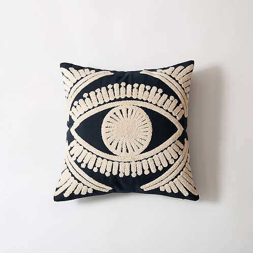 Evil Eye - Embroidered Throw Pillow Cover