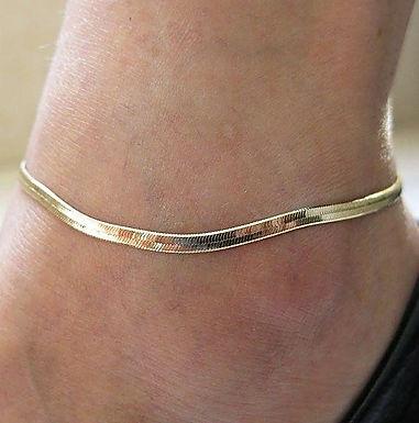 Gold Herringbone Anklet