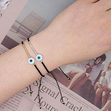 Turkish Evil Eye Bracelet with Miyuki Beads