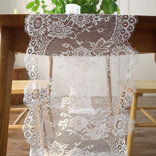 Vintage White or Black Lace Floral Table Runner