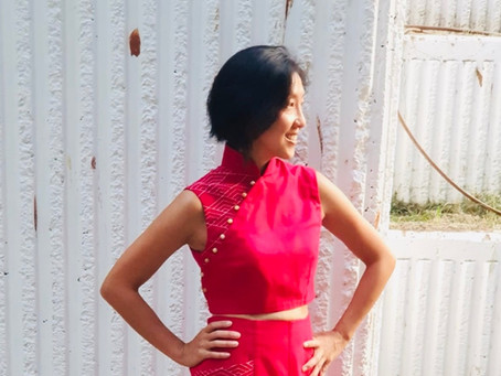 The Cheongsam Odyssey Begins: Self-Drafted Red Crop Top With Mandarin Collar