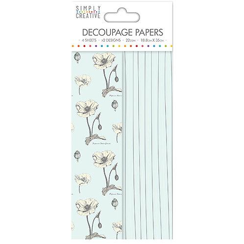 Simply Creative. 4 hojas papel decoupage Flores