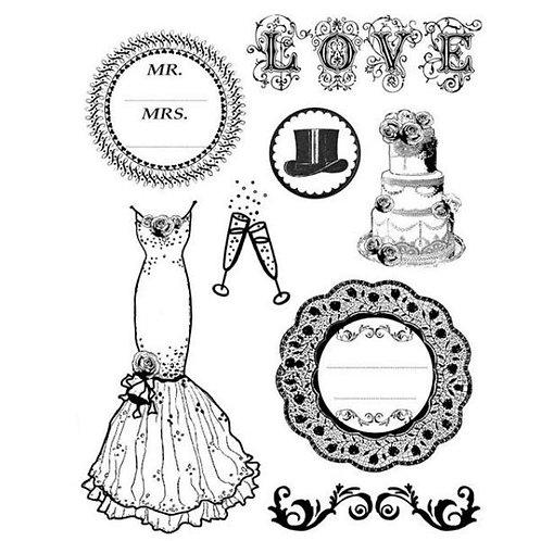 """HD sello de goma natural cm.14x18 """"Wedding"""""""