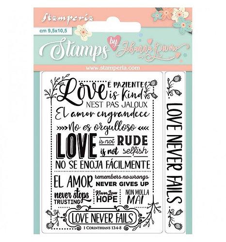 """Sello """"Love never Fails"""". 9,5x10,5cm.Johanna Rivero"""