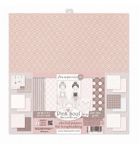 "Stamperia""Pink Soul"" 6 hojas a doble cara 30,5x30,5 Marisa Bernal"