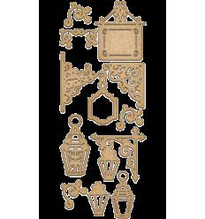Set maderas carteles  y farolas de Fabrika decoru