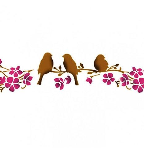 "Stencil ""Birds on tree"" Stamperia 7x60cm"