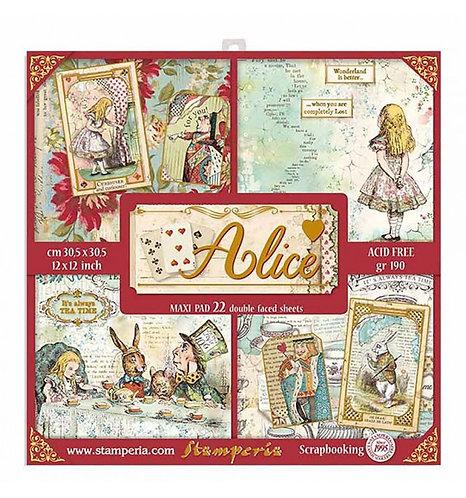 "Stamperia""Alice"" 22 hojas 30,5x30,5"