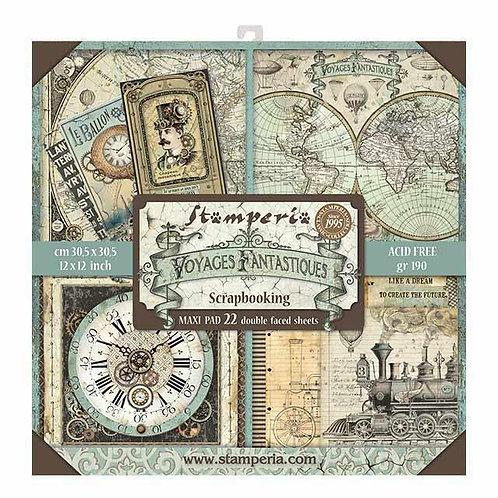 """Stamperia""""Voyages Fantastiques"""" 22 hojas 30,5x30,5"""