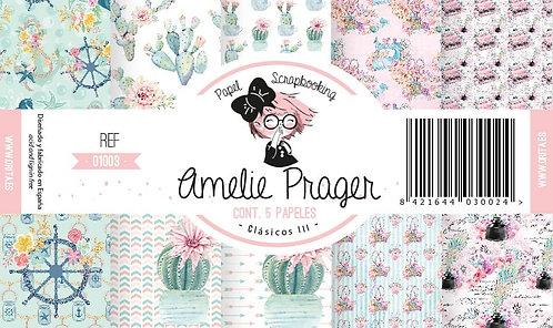 """Colección AMELIE PRAGER """"Clásicos III"""" 5 Papeles 2 caras"""