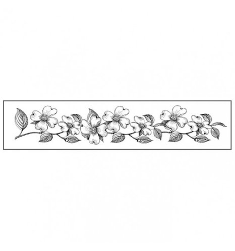 Sello de Caucho natural 4x18 cm de Stamperia flores