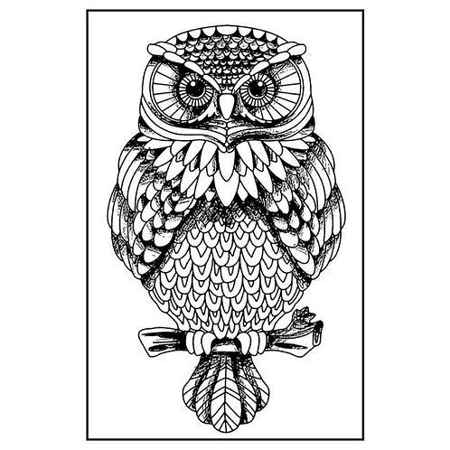HD sello de goma natural cm.7x11 Búho de Stamperia