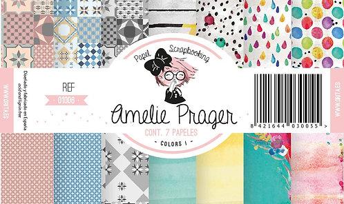 """Colección AMELIE PRAGER """"Colors"""" 7 Papeles 2 caras"""