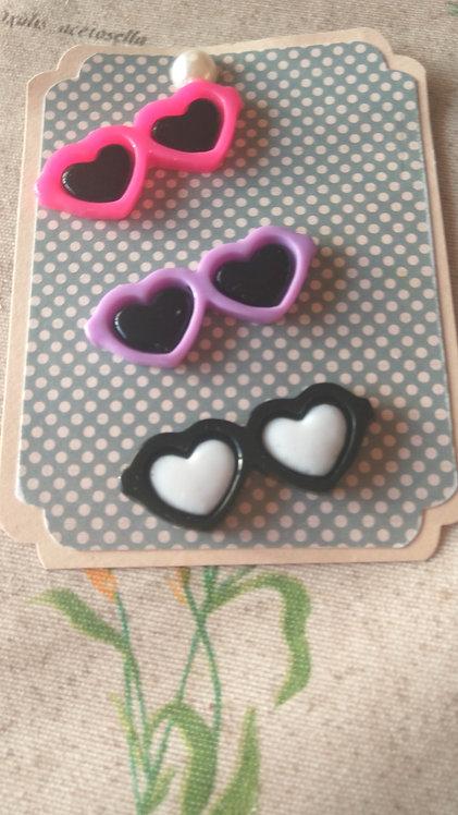 """Adorno resina """"gafas corazón"""" 4cm (4 uds)"""