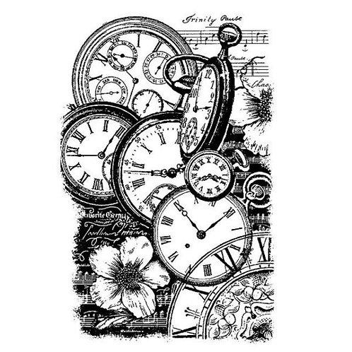 HD sello de goma natural cm.7x11 Relojes STAMPERIA
