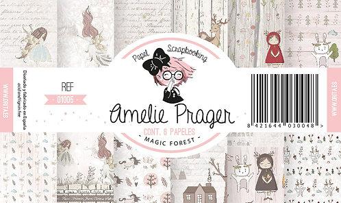 "Colección AMELIE PRAGER ""Magic Forest""  6 Papeles 2 caras"