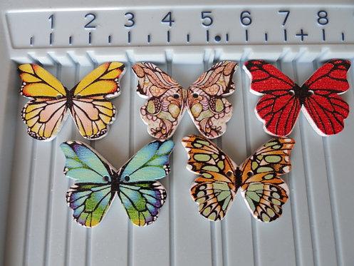 Botones mariposa madera pintados (10uds)