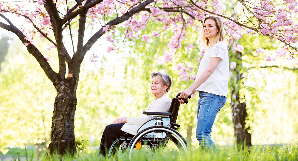 Elderly woman in a wheelchair in a park with a live-in carer
