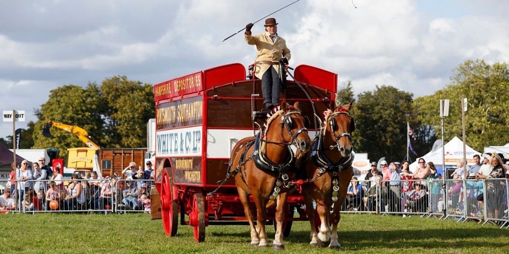 Man on a horse drawn carriage at Romsey Show in Hampshire
