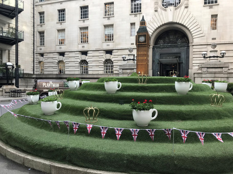 Tea Cup Planter outside the London Marriott County Hall hotel