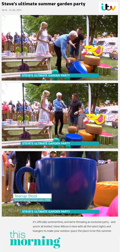 Tea Cup Stool on ITV's This Morning