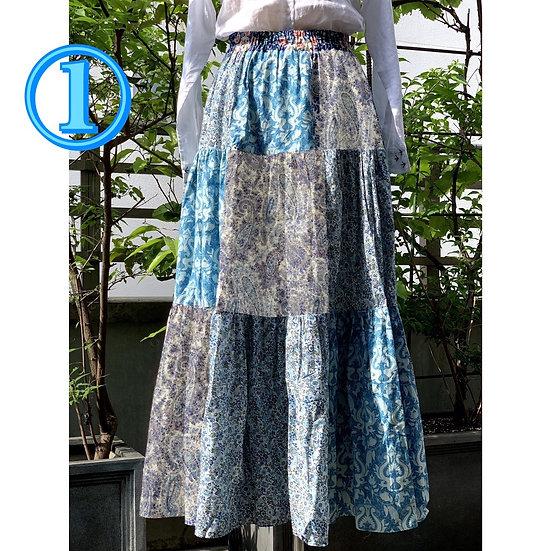 パッチワークのギャザースカート【 ブルー 】