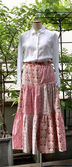 パッチワークのギャザースカート【 ピンク 】