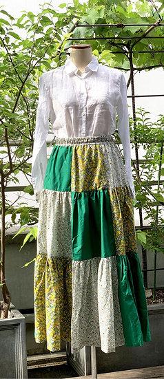 パッチワークのギャザースカート【 グリーン 】