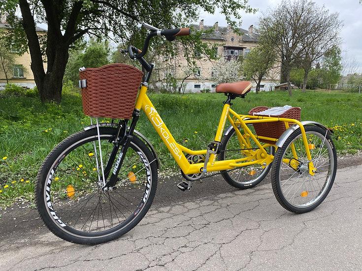 желтый трехколесный велосипед для взрослых