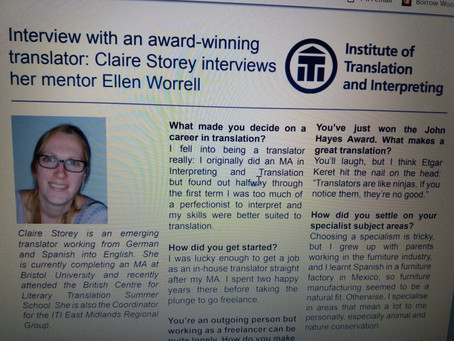Being interviewed by my mentee, Claire Storey