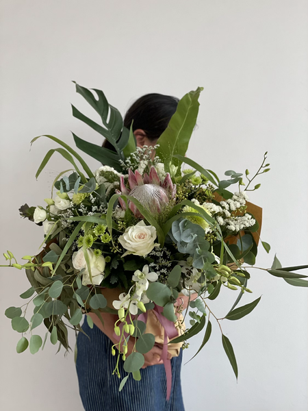Omakase bespoke botanical bouquet with king protea
