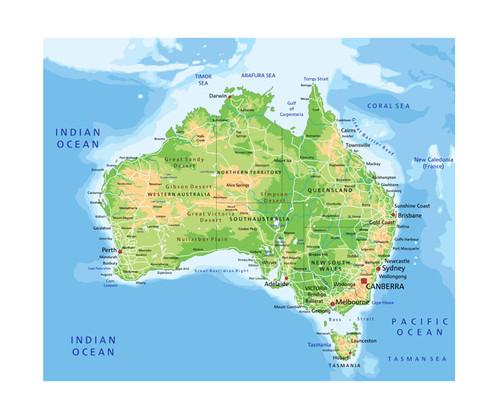 Topographic Map of Australia