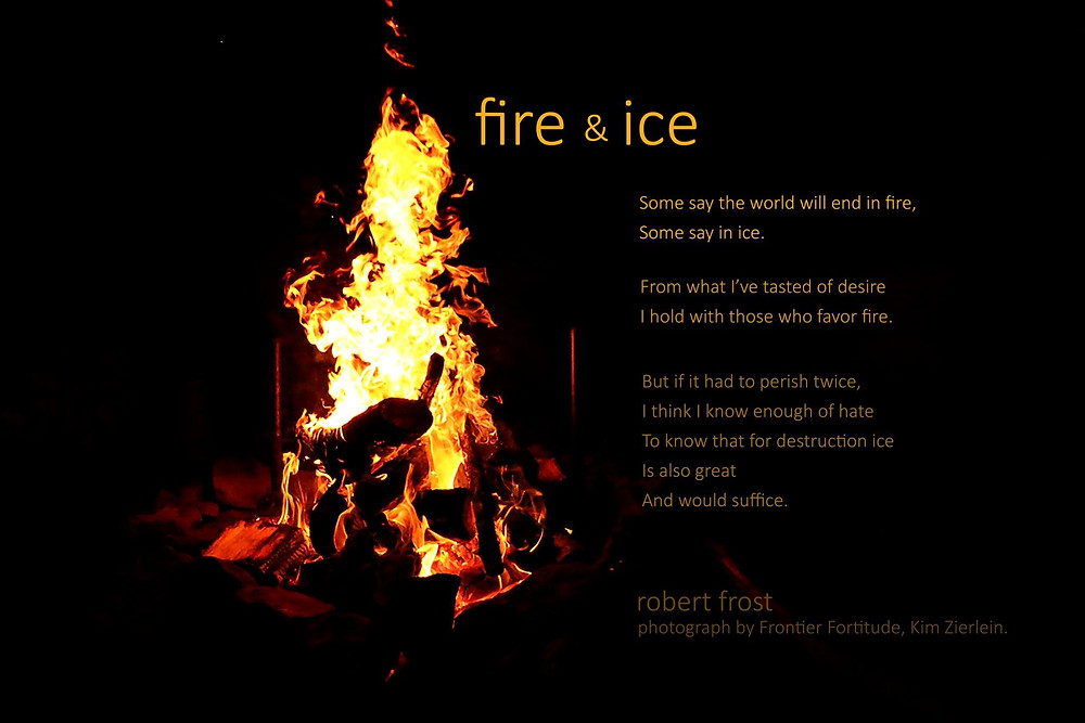 Robert Frost poem and campfire image.