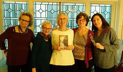 Celebrating Walled In, Walled Out. From left: Grace KennanWarnecke, Rosanne Weston, Mary Dana Marks, Gerri Marielle, Susan Ades Stone.