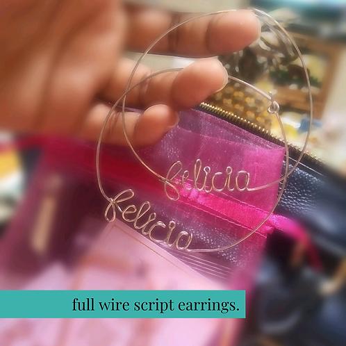 Full Wire Script Earrings