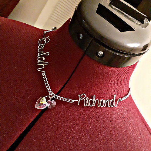 Double Scripted Name Necklace with Heart Charm