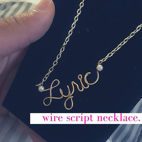 Kids Wire Script Necklace