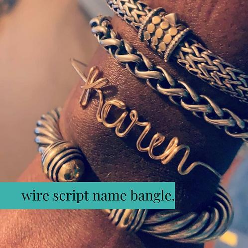 Wire Script Name Bracelet