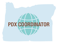 The Company logo of PDX Coordinator, LLC. Shape of the state of Oregon filled with light blue color with company name and illustration of the globe.