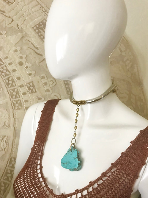 Large Turquoise Slab - African Brass Chain Necklet