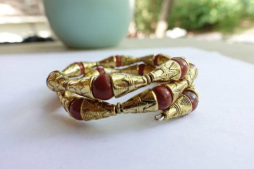 Red Jasper + Ornate Gold Tone Armlet