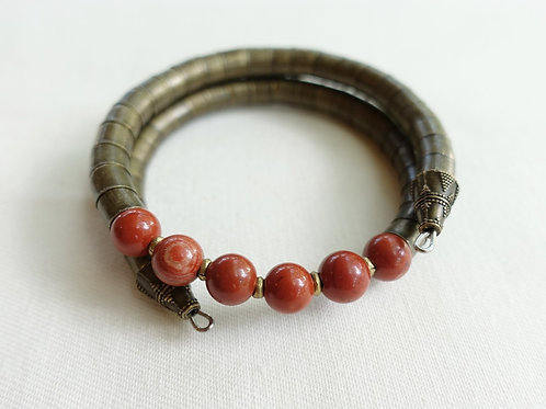 Red Jasper Armlet + Bronze Band