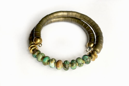 African Turquoise Armlet - Brass Tone Band