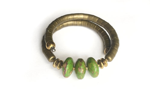 Green Turquoise Disk Armlet + Brass Tone Band